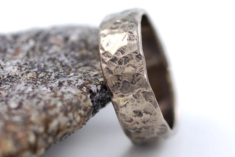 Hammered Recycled Palladium Men's Wedding Ring | Beth Cyr