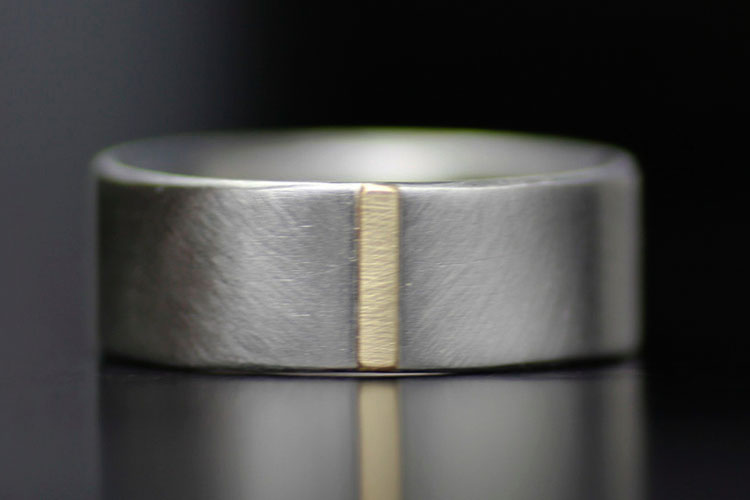 Modern Recycled Palladium and Gold Men's Wedding Band by Lolide