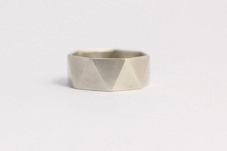 Modern Geometric Faceted Men's Wedding Ring in Matt White Gold by Ash Hilton
