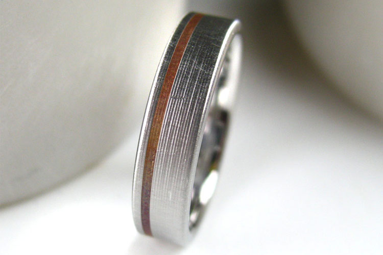 Modern Titanium Men's Wedding Band with Copper Inlay | Spexton