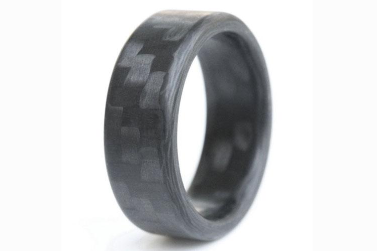 Modern Black Carbon Fiber Men's Ring | Element Rings Mens Modern Wedding rings