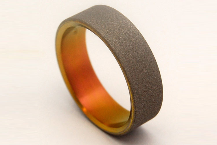 Sandblasted Sunset Titanium Men's Wedding Ring | Minter and Richter Mens Modern Wedding rings