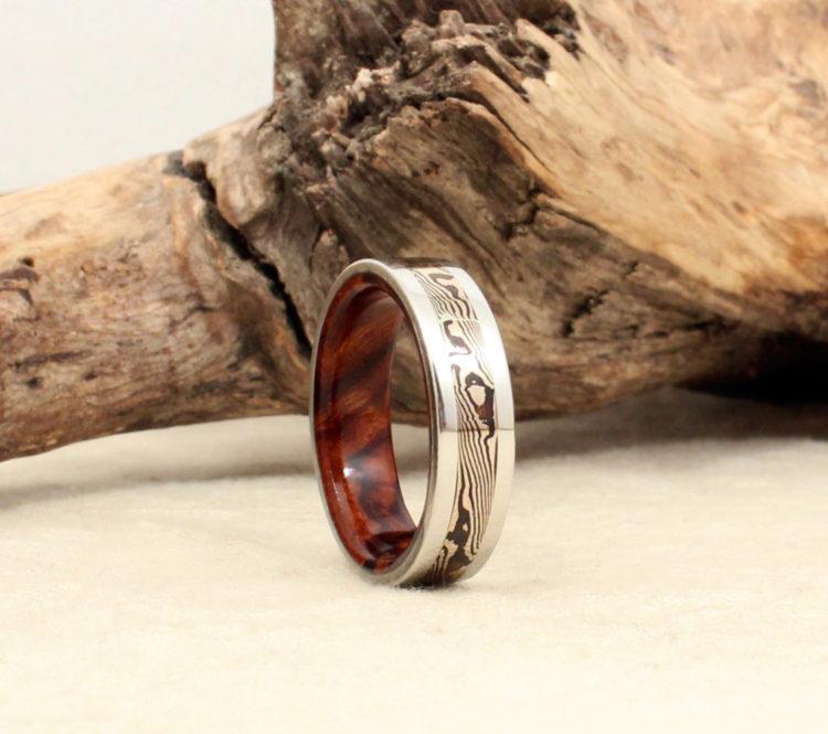 Cobalt Mokume-gane & Ironwood Burl Wooden Men's Ring by Wedgewood Rings