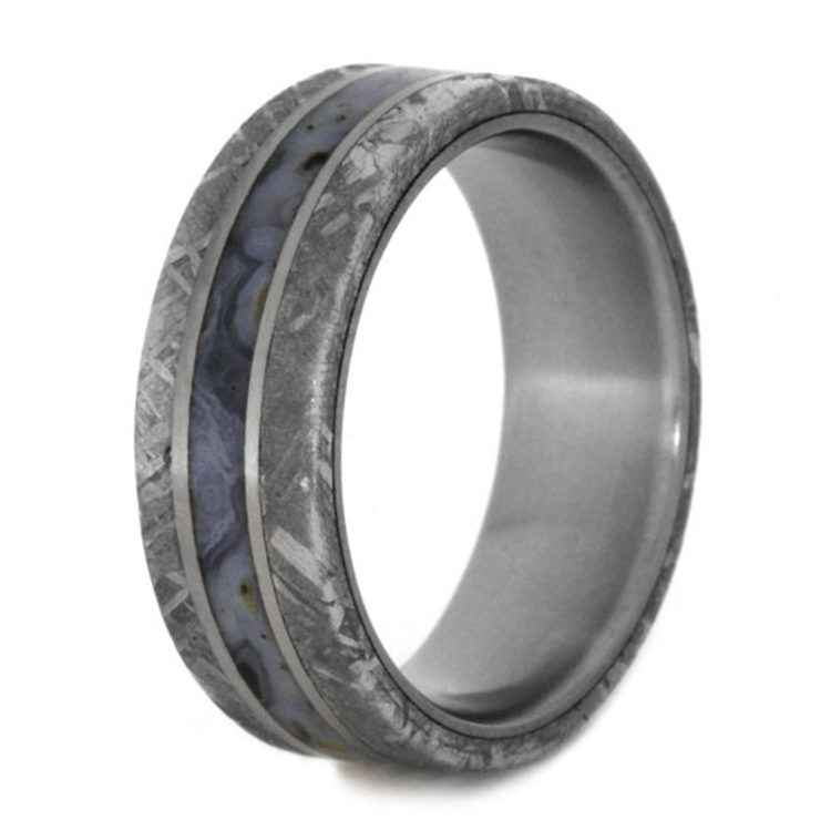 Dinosaur Bone Meteorite And Anium Wedding Ring By Jewelry Johan