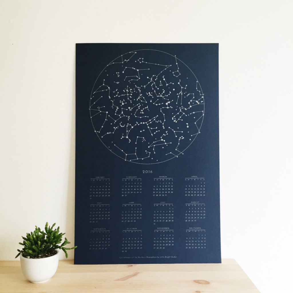 2016 Calendar Constellations of the Northern Hemisphere by Little Bright Studio