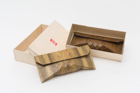Tesler + Mendelovitch Wooden Clutchesarrive in their own wooden packaging