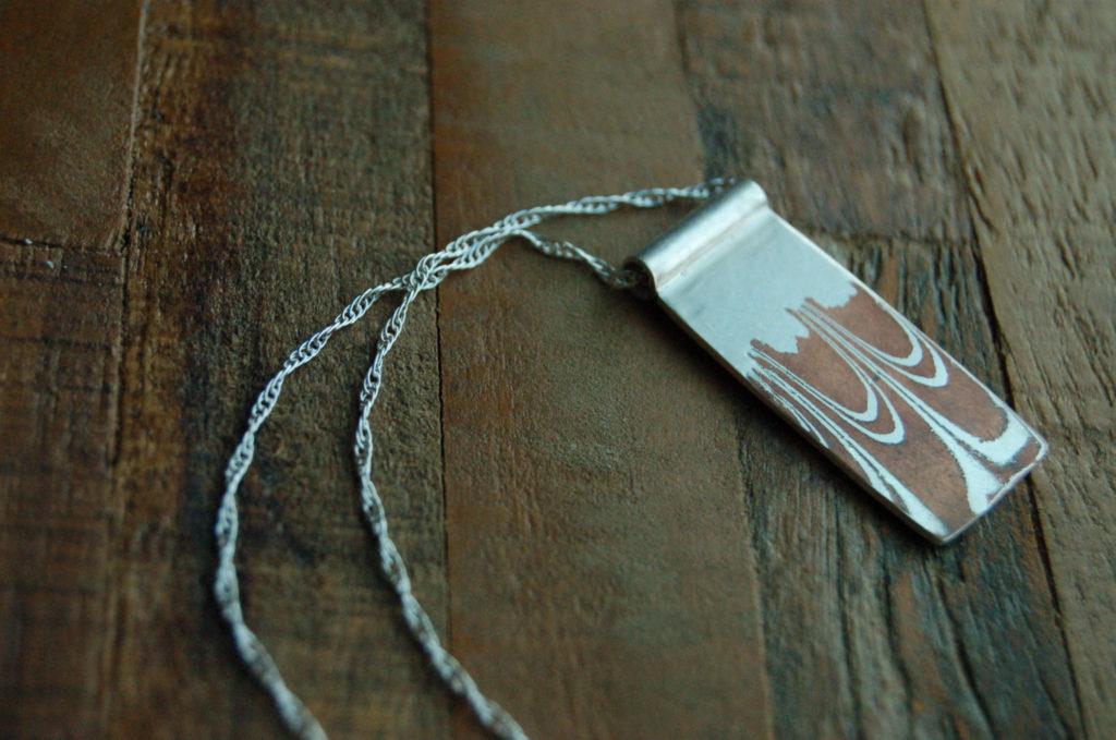Mokume Gane Rectangle Pendant Necklace by Elm Design