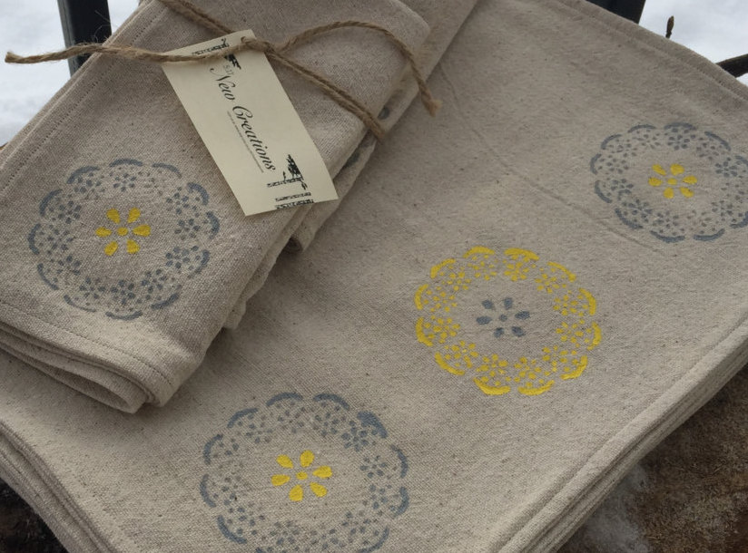 Screen Printed Daisy Napkins by 517 New Creations