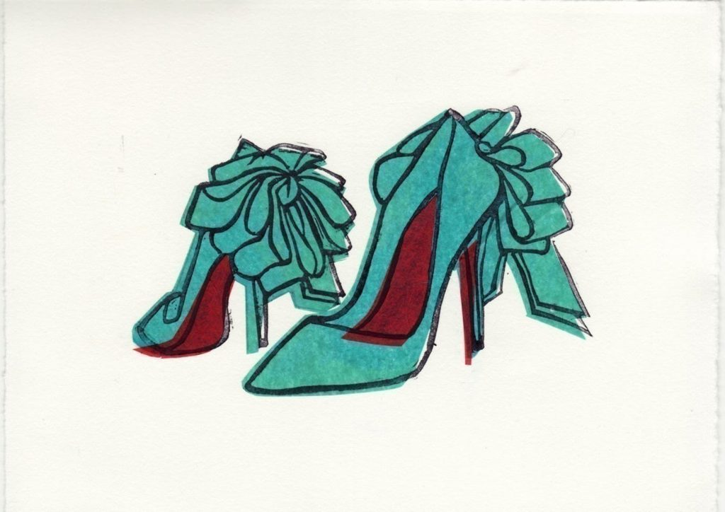 Christian Louboutin Anemone Bow Shoes Original Hand-Pulled Linocut by Anna See