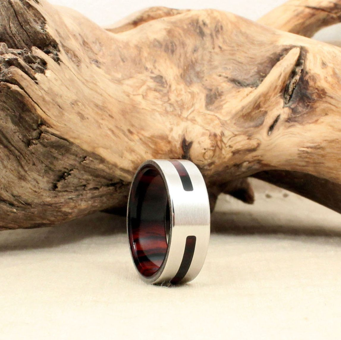 Cobalt Metal and Cocobolo Wood Wedding Ring by Wedgewood Rings