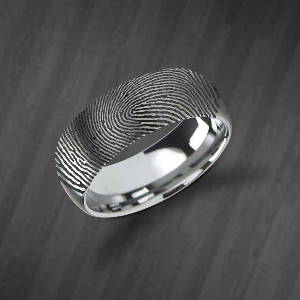 Tungsten Fingerprint Wedding Band | Infinite Jewelry