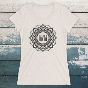 Breathe In Rock Out Mandala tee tshirt yoga top womens