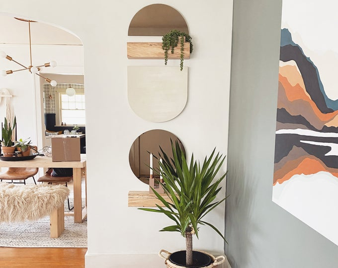 Totem Wood & Mirror Wall Art