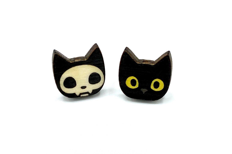 Cute Black Cat Skeleton Earring Studs by Worlds End Studio